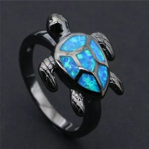 Blue Fire Opal Turtle Black Gold Filled Ring Sz: 7